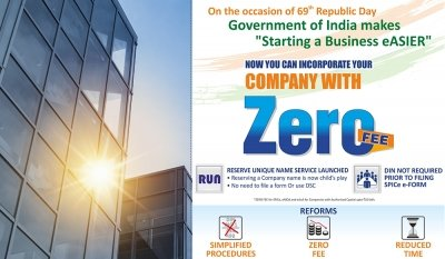 Company Registration is now Free of Cost