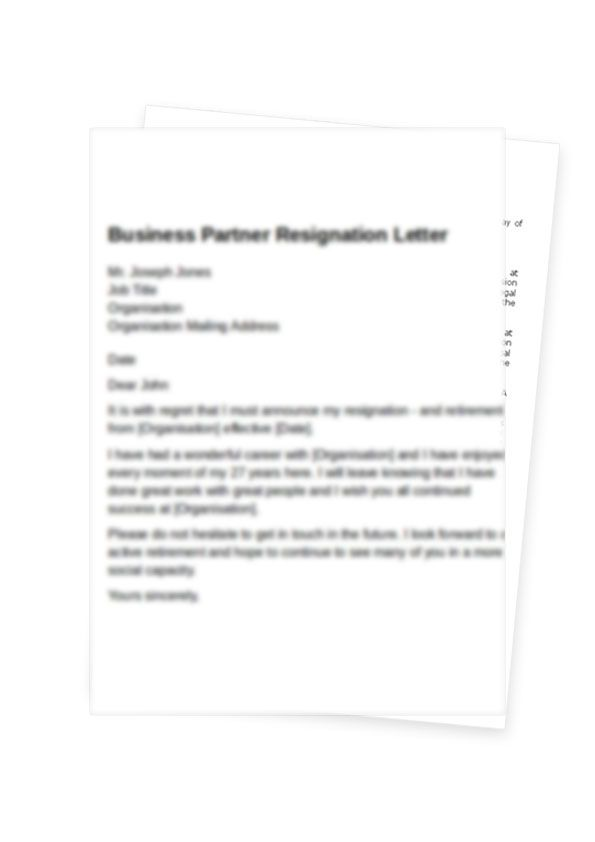 Partnership Resignation Letter Format