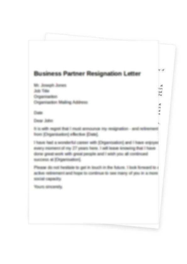 partnership resignation letter format